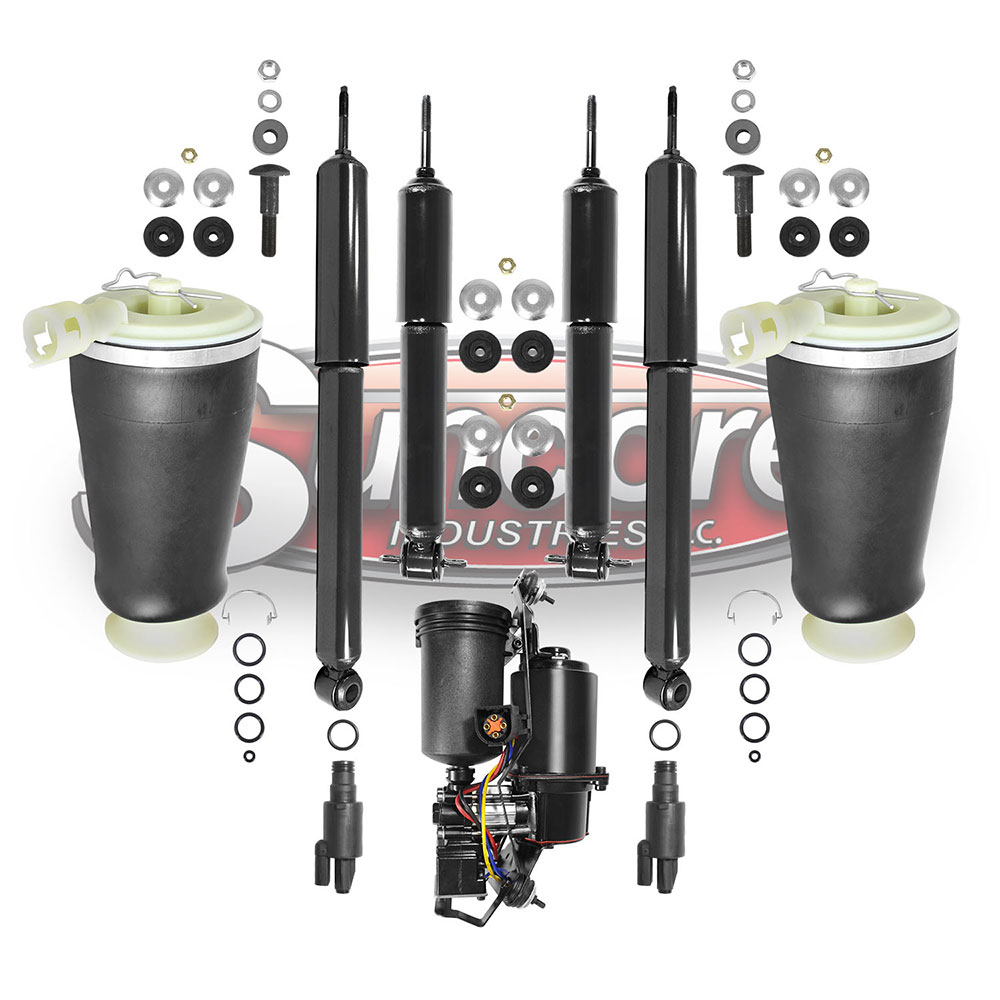 Air Suspension Air Springs, Compressor and Solenoids Kit with Gas Shocks Bundle - Lincoln Town Car