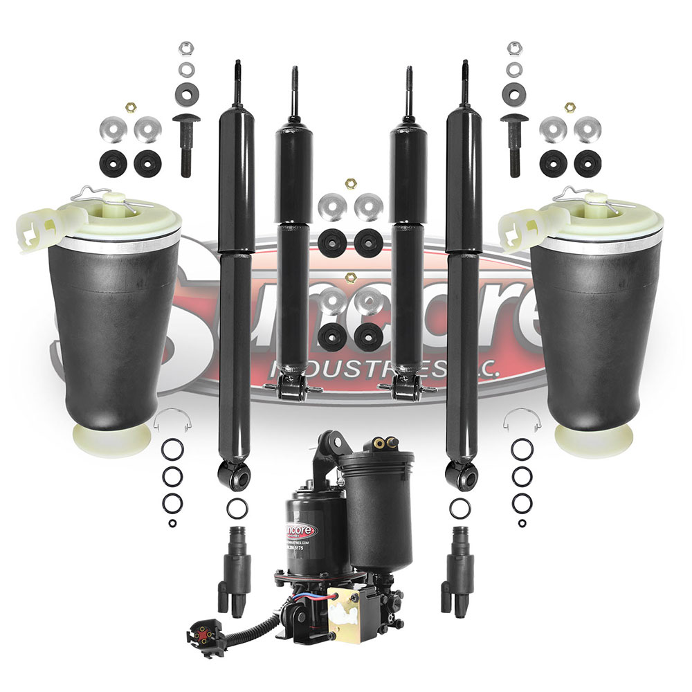 Air Suspension Air Spring & Gas Shock Replacement Kit with Compressor Bundle - Lincoln Town Car